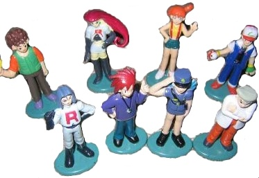 8 Pokemon Trainers -- Misty, Team Rocket, Ash, Brock, Gary, Professor Oak, Police Jenny