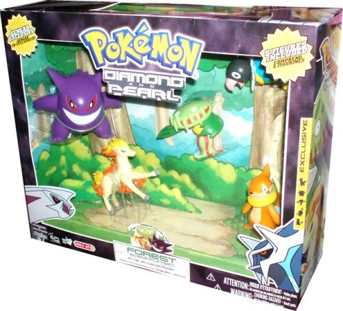 Pokemon Diamond and Pearl Exclusive 5 Pack Figure Set - Forest Scene Playset with Ponyta, Carnivine, Chatot, Buizel and Gengar